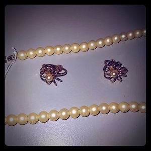 Jewelry - Faux Pearl Necklace and Earring set
